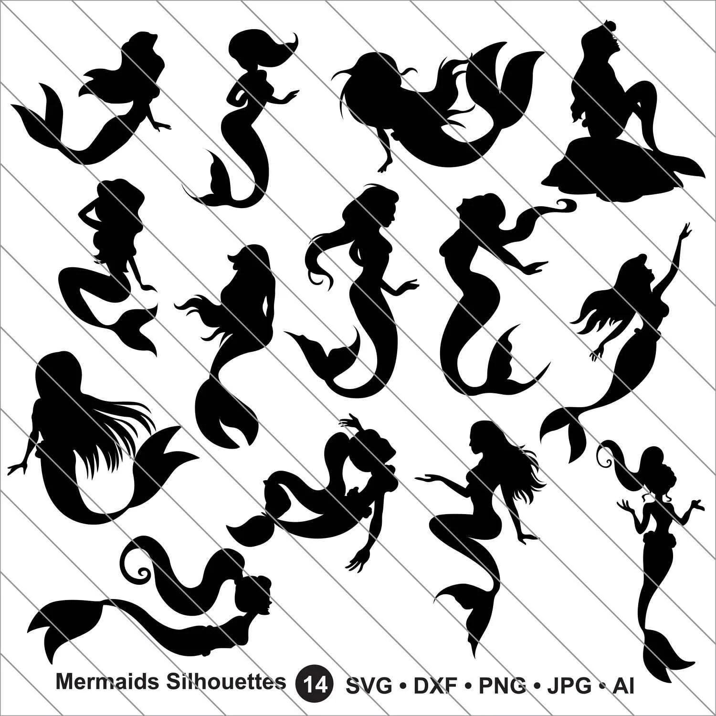 Mermaid Silhouettes Svg Mermaid Clipartmermaid Svg Cut