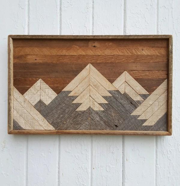 Reclaimed Wood Wall Art Small Mountain Range Lodge
