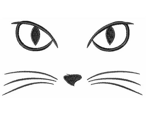 Cat Face machine embroidery design by DesignsByWindmill on