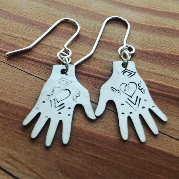 Frida Kahlo Hand Earrings Silver Tone - Heart Design