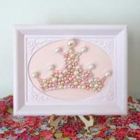 Princess Crown Wall Art. Pearl Mosaic. Rose Pink Ornate
