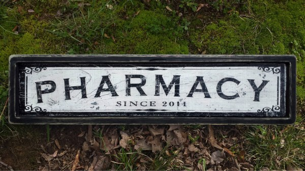Pharmacy Wood Sign Antique Style Handmade Wooden Decor