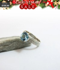 Birthstone Engagement Ring Set with Aquamarine by JonJonJewel