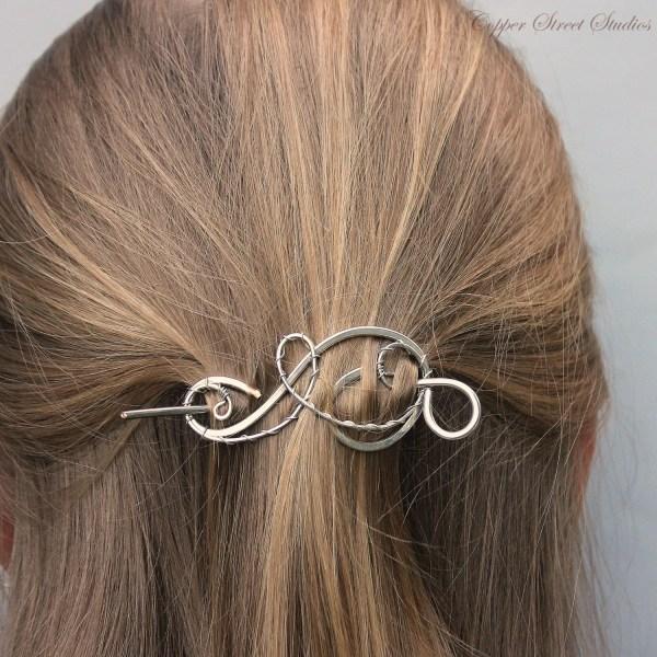 Silver Hair Clip Shawl Pin Small Barrette