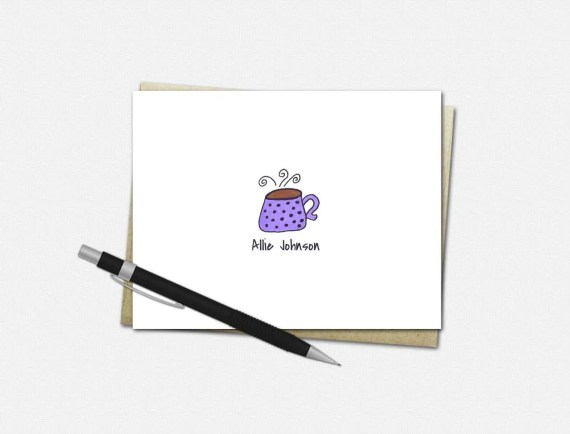 Personalized Coffee Mug Note Cards - Coffee Mug Note Cards - Personalized Folded Note Cards - Stationery for Her - Coffee Mug Stationery