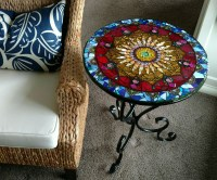 Mosaic stained glass bistro table