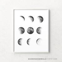 Moon phase print moon phases wall art moon phase wall art