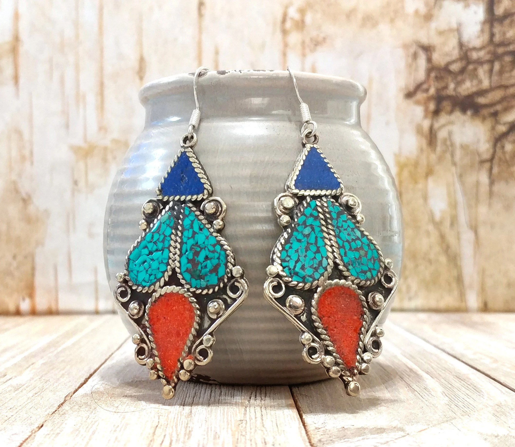 Nepali Lapis Coral And Turquoise EarringsEthnic