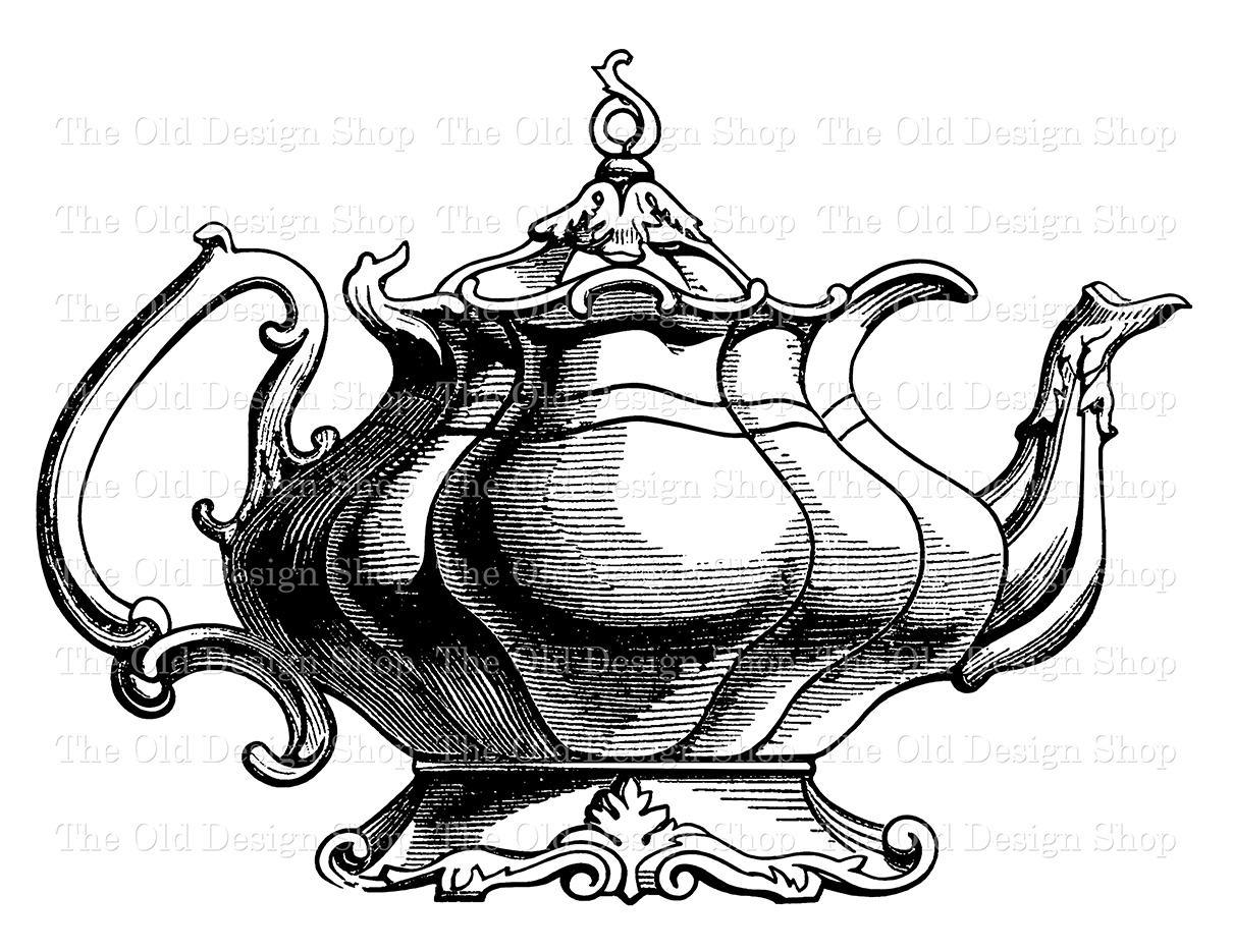 Fancy Teapot Vintage Kitchen Clip Art Printable Victorian Tea