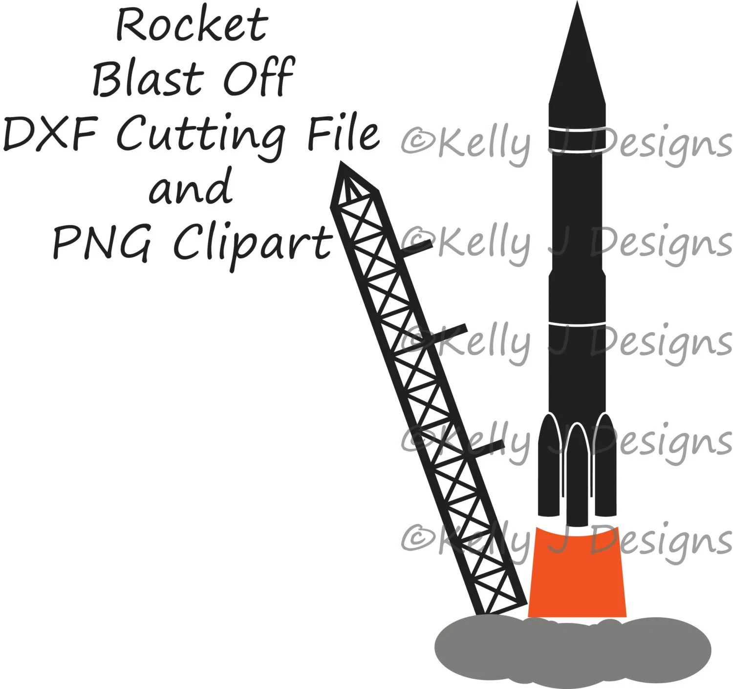 Rocket Blast Off Dxf Cutting File And Clipart File
