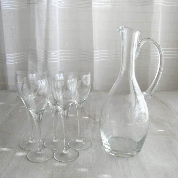 Cordial Glasses Etched Stemware Glass