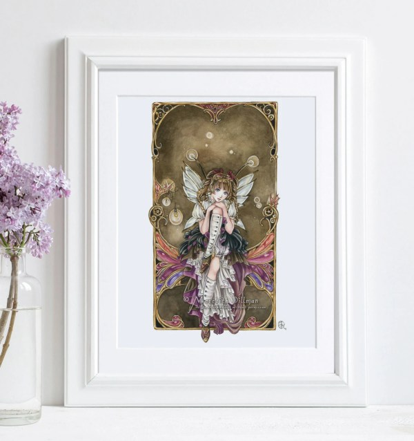 Steampunk Art Print Anime Fairy Poster
