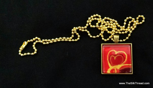 "Hand painted gold heart on red silk. Beautiful pendent necklace art by artist, square 1"" scrabble tile, red & gold, free organza gift ba"