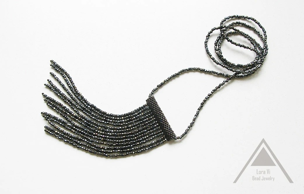 Black bronze jewelry seed bead chain tassel fringe necklace