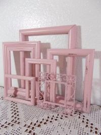 Pink Picture Frame Set Photo Decoration Up Cycled Vintage ...