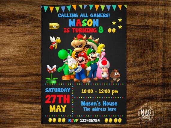 Mario Bros Invitation Mario Bros Birthday Invitation Mario
