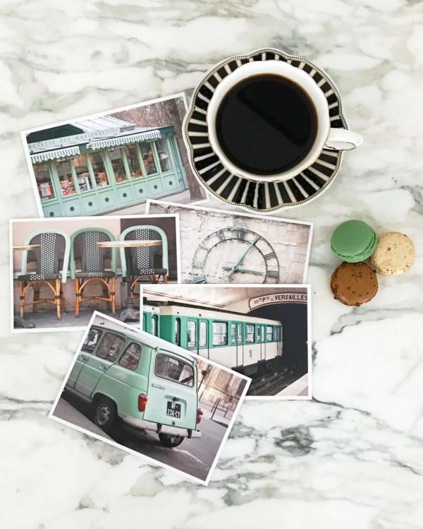 Paris Postcard Set Green Travel Postcards 4x6 Art Print