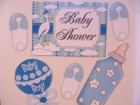 Baby Shower Door Decorations Laminated-6pc Set baby Boy
