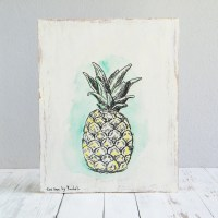 Pineapple print Print on wood Wood wall sign by ...
