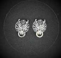 Cloud Strife Wolf Stud Earrings in Sterling Silver