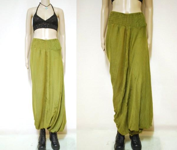 90s Vintage Olive Green Harem Pants Loose Fit Semi Sheer Boho