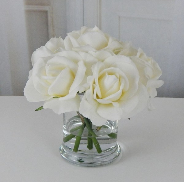 Silk Flower Arrangements in Glass Vases