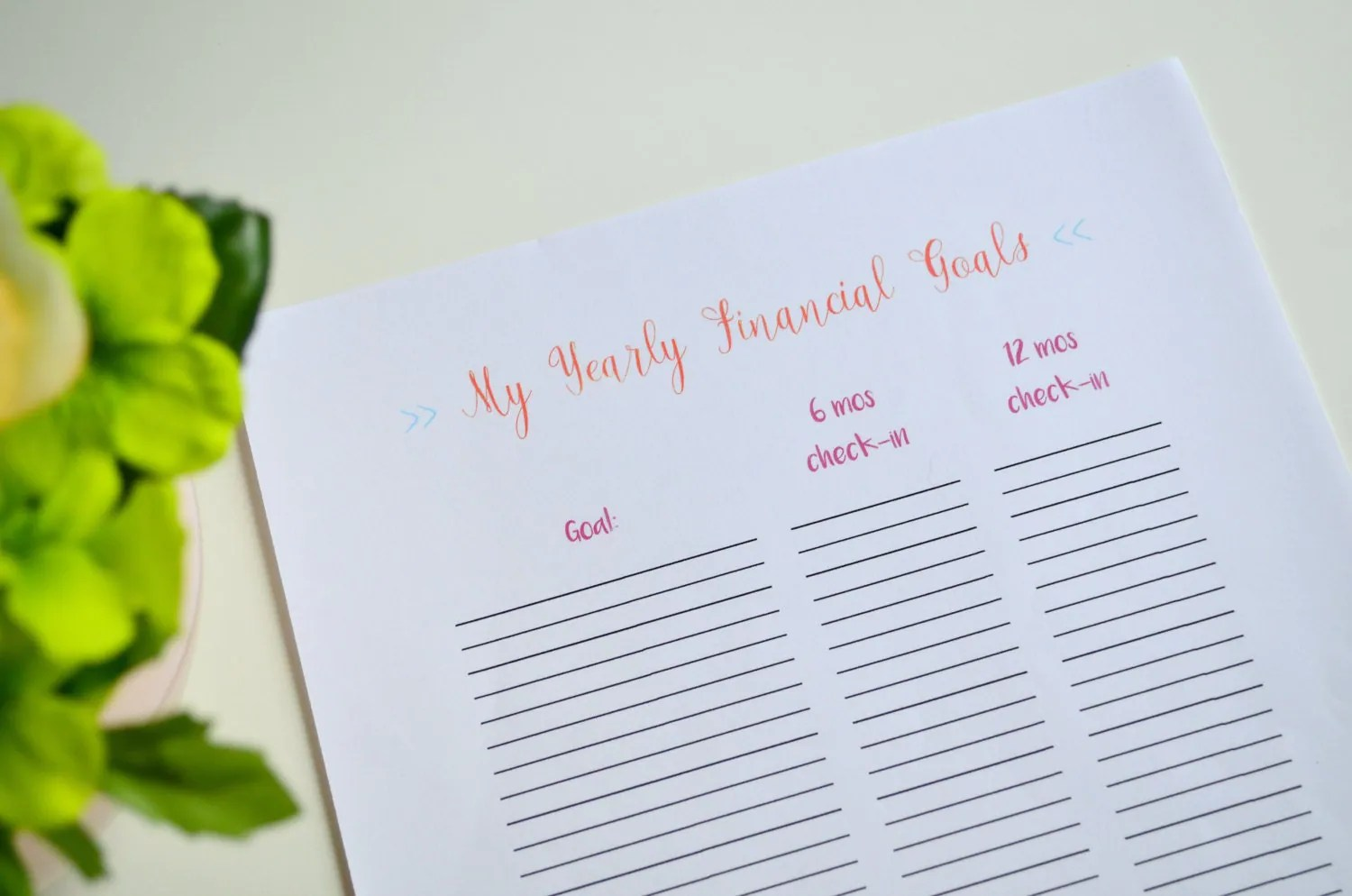 Yearly Financial Goals Printable Financial Goals Worksheet
