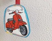 Red Italian Vespa travel tag, luggage label to make your belongs unique