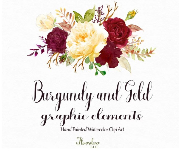 burgundy and gold watercolor clipartburgundy