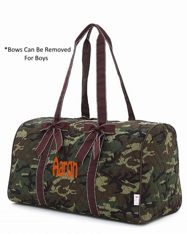 Personalized Quilted Large Camo Duffel Bag Gym