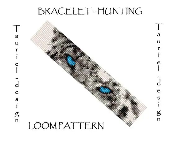Loom pattern animal bracelet pattern Snow Leopard Hunting