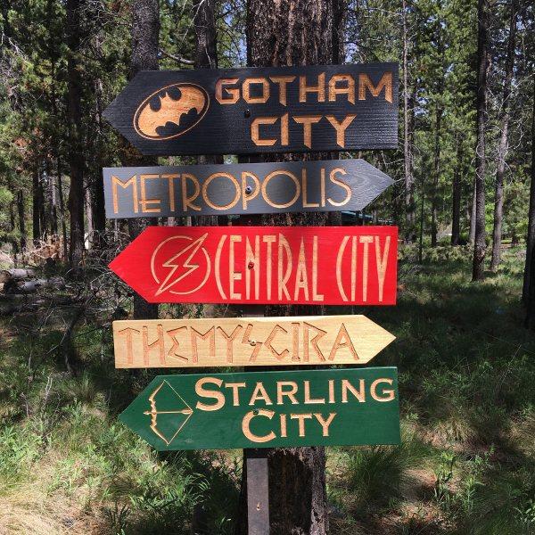 Comic Book Fantasy Story Signs Super Hero City Locations