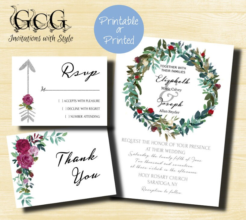 Printable Green Wreath Wedding Invitation Set Green