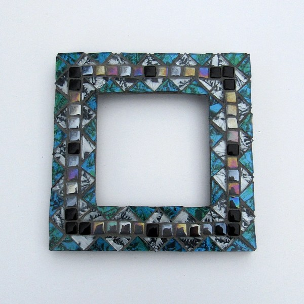 Blue And Silver Mosaic Frame-mosaic Art-small Frame-standing Mirror