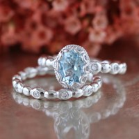 Floral Aquamarine Engagement Wedding Ring Set in 14k White