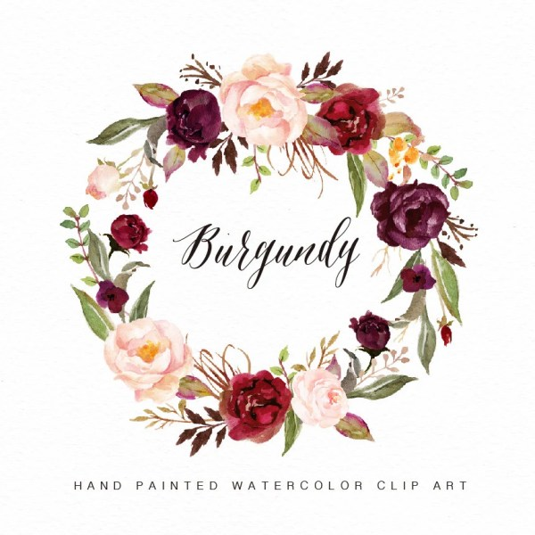 watercolor flower wreath clipart-burgundy hand