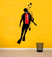 Scuba Diver Wall Decal Decal for Office Decoration Scuba