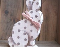 Rustic log slice rabbit log easter bunny wooden rabbit