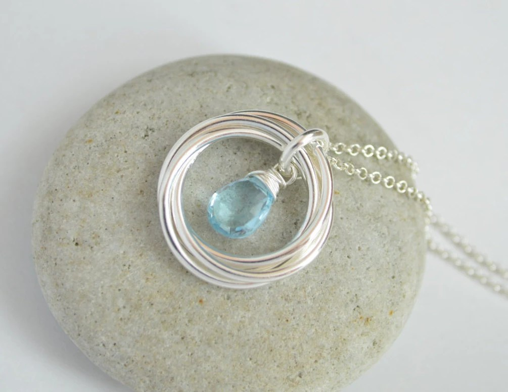 40th Birthday Gift For Women, 4 Rings Necklace, Blue Topaz