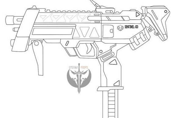 Sombra's machine pistol Blueprints- Overwatch from