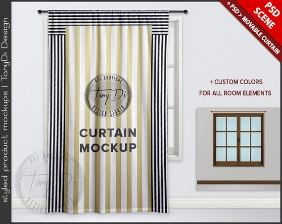 Long Curtain On Window Psd Mockup Area Styled 5084c1 Custom Color Living Room Smart Object Png With Rod