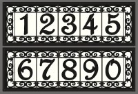 Iron Scroll House Numbers Ceramic Address Tiles Framed Set