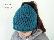 crochet pattern messy bun hat
