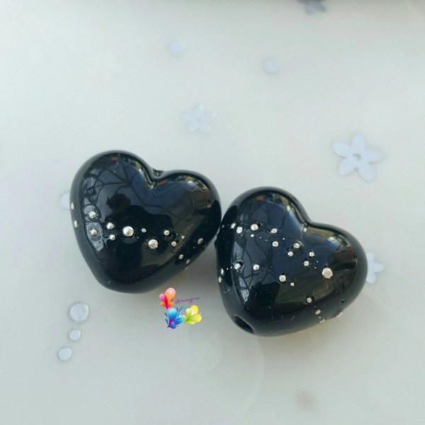 Lampwork Beads Silver Trail Black Heart Glass Hearts Jet