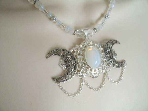 Opalite Triple Moon Goddess Necklace Wiccan Sheekydoodle