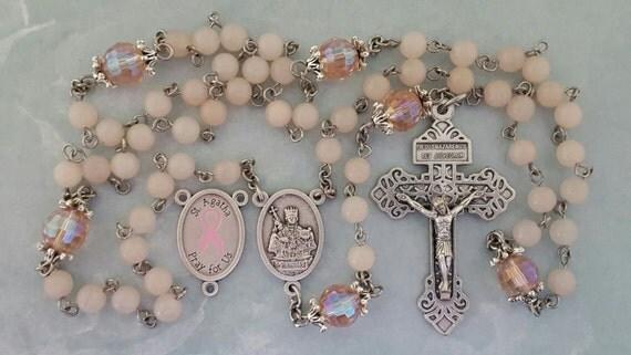Breast Cancer Awareness Rosary Saint Agatha Pale Pink