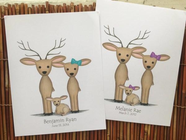 Custom Deer Family Art Print Deer-themed Nursery
