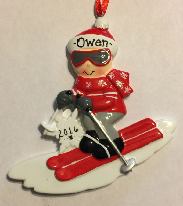 Personalized Skier Christmas Ornament