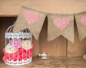 Heart Burlap Banner, Hear...