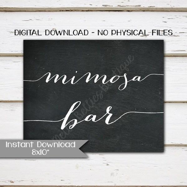 Printable Mimosa Bar Sign Wedding Table Drinks Chalkboard 8x10 Digital